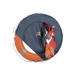 Container for lifebuoy and integrated bag with zipper